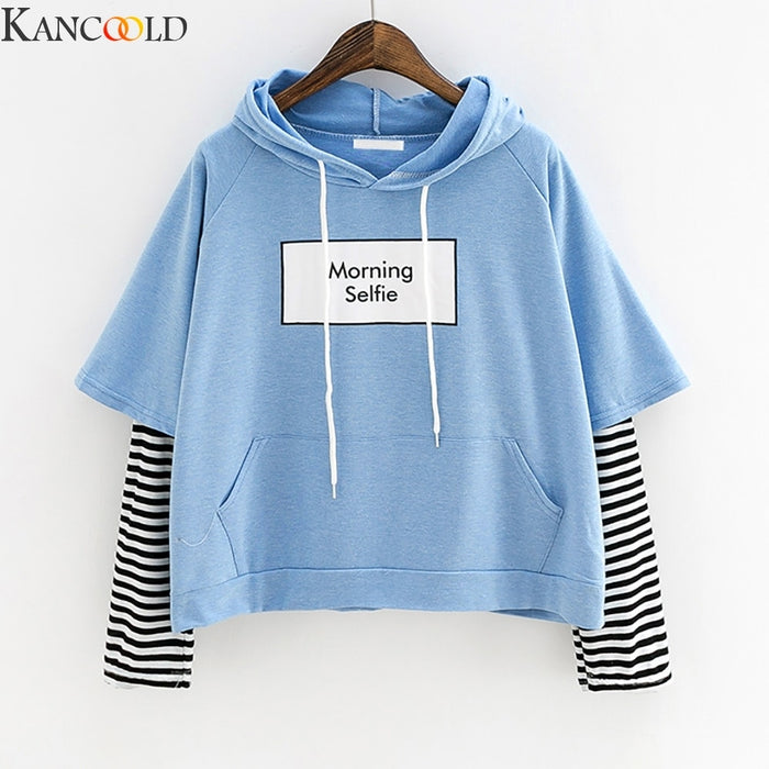 KANCOOLD Women Sweatshirt Hooded Long Sleeve Crop Patchwork Blouse Pullover Tops