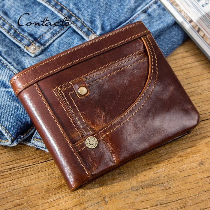 CONTACT'S Genuine Leather Wallet Men RFID Small Portfel Card Holder Wallets Vintage Short