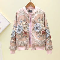 2020 New Women Jackets Jacquard Heavy Industry Beads Jacket Zipper Pockets Casual Long Sleeves Female Basic Coat High Quality