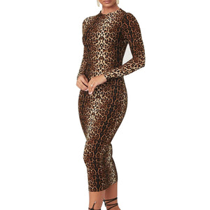 midi dress party culb bodycon tiger leopard animal print sexy plus size office clothes 2019