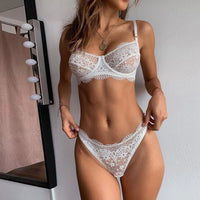 Womens нижнее белье Sexy Plus Size Sling Lingerie Lace Nightwear Underwear Set Large size white lace strap sexy lingerie set