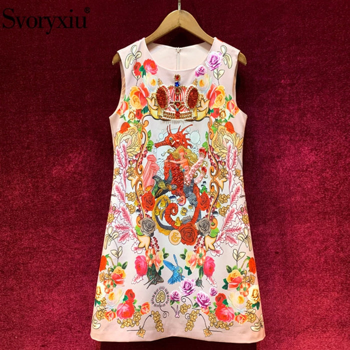 Svoryxiu Fashion Designer Summer Tank Short Dresses Women's High End Beaded Sequins
