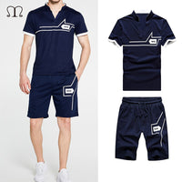 Tracksuit Mens Jogger Sets Fashion Brand Casual Sweat Suits Men 2 Pieces Tee Shirts Top+Shorts Sportwear Male Shorts Sets Summer