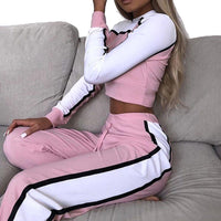 Women Striped Patchwork Tracksuit Set Casual Crop Top +Pants 2 Piece Sets For Women 2019 Spring Two Pieces Sets Hoodies Suit