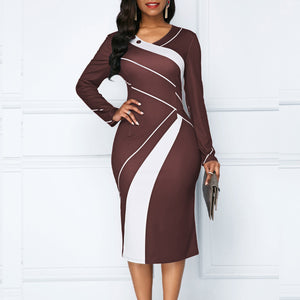 Autumn Winter Dress Women 2019 Casual Plus Size Slim Office Pencil Dresses Elegant Sexy V