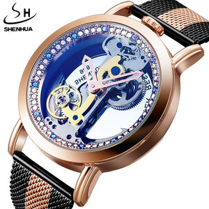 Retro Automatic Mechanical Watches Men Tourbillon Transparent Skeleton Self-wind Steel Band Leather Steel Male Wristwatch Clock