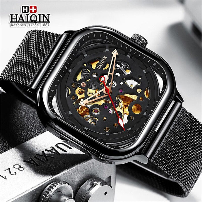 HAIQIN Mens Watches Top Brand Luxury Hollow Skeleton Mechanical Watch Men Military Sport