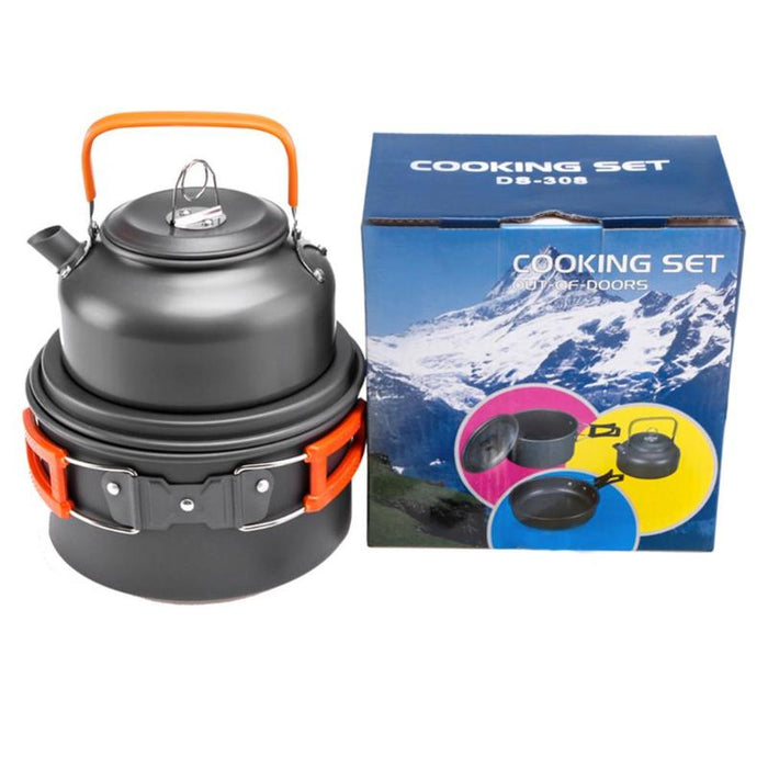 Outdoor Camping Cookware Utensils Dishes Cookware Set Picnic Hiking Heat Pot Kettle