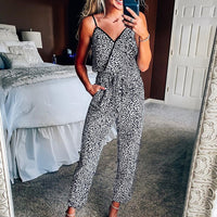 Summer sexy jumpsuit women sleeveless leopard rompers overalls bodysuit v-neck pockets women jumpsuit new high waist ropa mujer