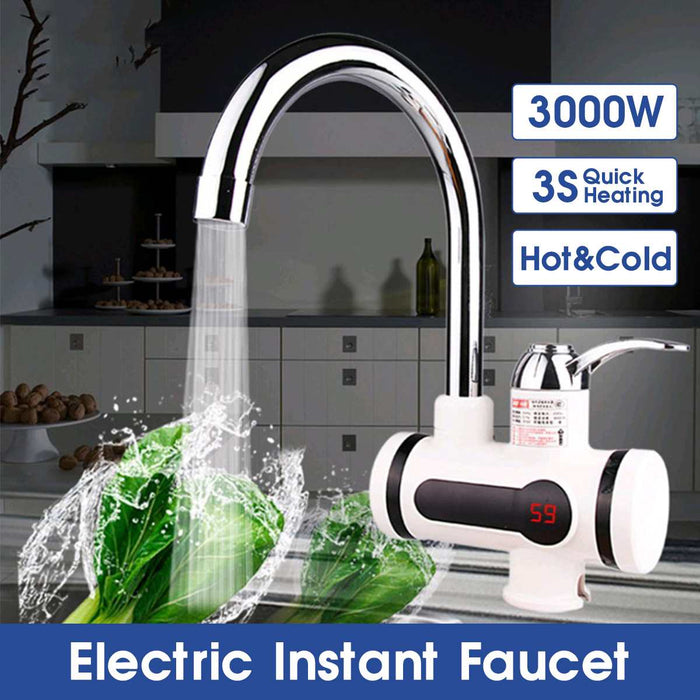 Temperature Display Instant Hot Water Tap Tankless Electric Faucet Kitchen Instant