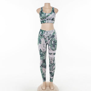 Fitness Set Workout Gym Wear Running Clothing Female Yoga Set Leaves Ensemble Black