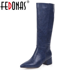 FEDONAS Euro Style Plus Size Female High Heels Fashion Party Night Club Shoes Woman Winter Warm Women Knee High Western Boots