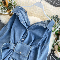 2020 Vintage Sashes Slim Waist Jeans Coat Autumn Winter Women Denim Jacket Korean Buttons Backless Long Outerwear