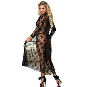 Comeondear 5XL Plus Size Lace Night Dress For Sex Long Sleeve Robe Femme Dentelle Woman See Through Black Night Gown RB80232