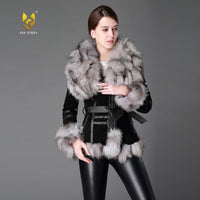 Fur Story FS13055 Women's Coats Leather Fur Coat Fox Fur Collar Womens Spring Jackets Women Jacket Winter jacket Women