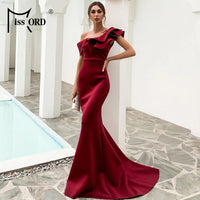 Missord Women Sexy One Shoulder Ruffles Evening Party Dress Solid Color Celebrity Maxi Dress Slash Neck Women Dress FT19938-1