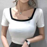 shintimes Tee Shirt Femme Korean Version Slim Elasticity White Tshirt Women Tops Short Sleeve Womens Clothing Camiseta Mujer
