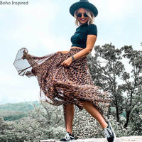 BOHO INSPIRED 2020 NEW Summer Skirt leopard Print Elastic Waist maxi skirts for women super chic skirts womens new faldas saias