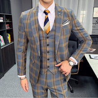 Men's Spring Suit 3 Pcs / 2 Pcs Khaki Gray Plaid Dress Formal Men's Suit Classic Men's Wedding Dress Slim Dress Formal Costume