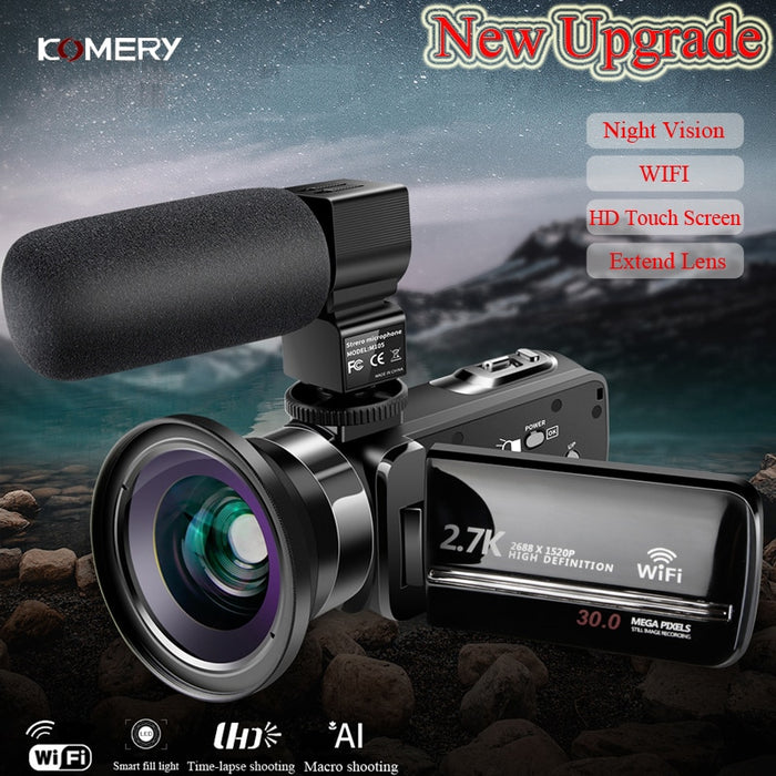 WiFi 2.7 k Vlogging Camcorder For Youbute Touch Screen 30MP 16X Digital Zoom Factory Handycam