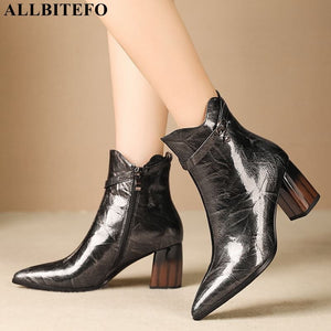 ALLBITEFO fashion brand high heels ankle boots for women genuine leather pointed toe thick heel winter snow boots women boots