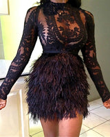 Sexy Mesh Club Dress Lace Hollow Out Black Long Sleeve Faux Fur Dress Sexy See Through Lace Top With Faux Fur Skirt Set