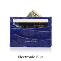 Hiram Beron Genuine Leather Card Holder Men Cow Leather With Crocodile Pattern Wallet