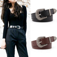 Black Leather Belt Women Metal Heart Buckle Waist Belt Vintage Western Carved Ladies Belt Waistband cinturon mujer