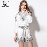 LD LINDA DELLA Spring Fashion Runway Vacation Shorts Suits Women's Floral Print Top and Holiday Vintage Belted 2 Pieces Sets