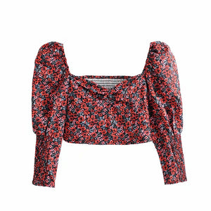 New vintage women floral tops 2019 fashion ladies bomb top sexy female Bohemia v-neck