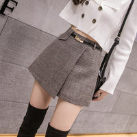 Irregular Woolen Plaid Shorts Skirts For Women 2019 Atumn Winter Office Short Women Plus Size Booty Shorts Feminino