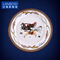 Luxury War Horse Bone China Dinnerware Set Royal Feast Jingdezhen Porcelain Western Plate