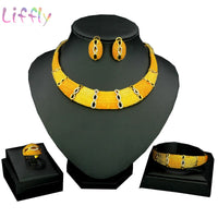 Dubai African Jewelry Sets Crystal Gold Necklace Set Yellow Light Golden Nigerian Ethiopian Jewellery Set for Women