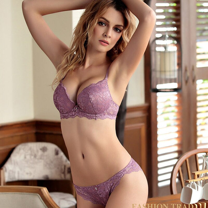 DERUILADY Lace Floral Lingerie Set Push Up Bra Women Comfort Adjusted Bra And Panty Set Sexy