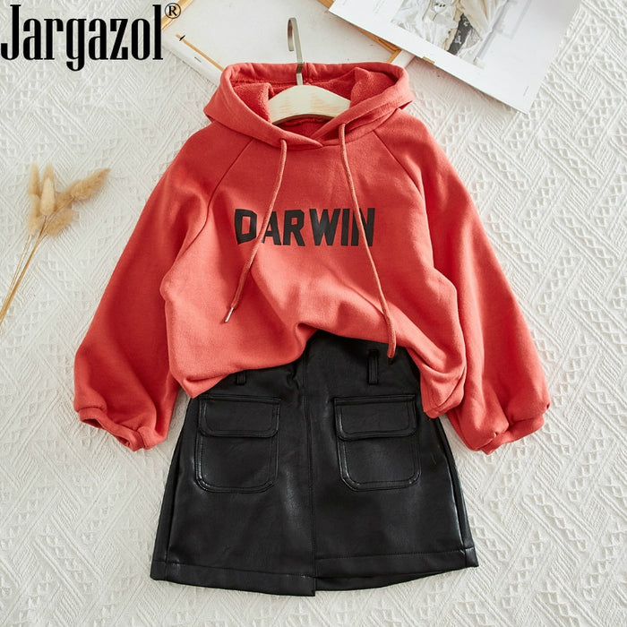 Baby Girls Clothes Set Long Seeve Hoody Sweatshirt and Leather Skirt New Fashion Toddler Girls