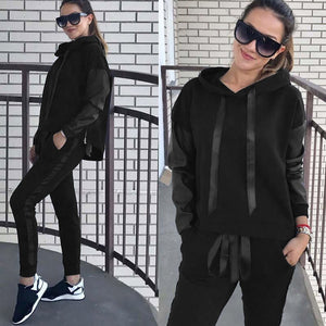 2019 New Autumn Tracksuit Long Sleeve Thicken Hooded Sweatshirts 2 Piece Set Casual Sport Suit Women Hoodies Pants Set#3