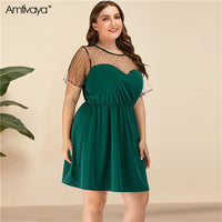 Amtivaya Green Plus Size Big Dress 2020 Fashion Summer Women Sexy Mesh Stitching V-neck Knee-Length Skirt
