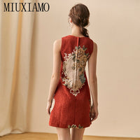 MIUXIMAO High Quality 2020  Spring  Dress Newest Fashion Sleeveless Flower Diamonds Above Knee Tank Red Dress Women Vestidos