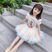 Girls Toddler Kids Dress Princess Party Casual Short Sleeve Dress Children Girl Cute Knee-Length Outfit Clothes 1-5Y