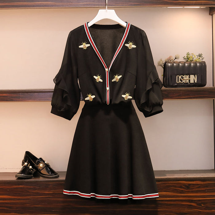Sets Ruffles Half Sleeve V-Neck Bees Embroidery Loose Cardigan and Elastic Waist Mini Skirt Set