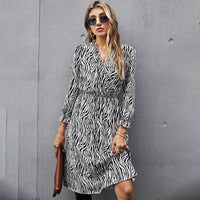 Elegant V-neck Dress Spring Autumn Clothes Women Fashion Zebra Printing White Slim Fitted Fall Dresses For Party 2021 New Hit