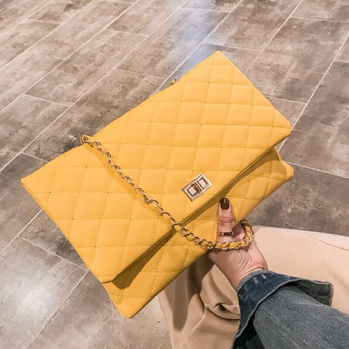 2019 Luxury Brand Designer Quilted Handbag Clutch Bags Ladies Yellow Envelope Big Tote Shoulder Crossbody Bag Women Sac Purse
