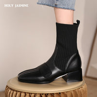 2020 Autumn Winter Socks Women's British Short Boots Thin Boots Fashion Knitting Match Riding Boots Luxury Shoes Women Designers