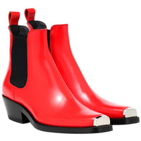 MStacchi Women Winter Genuine Leather Ankle Boots For Women Metal Toe Cap Elastic Band Booties Mujer 2019 Low Heels Shoes Woman