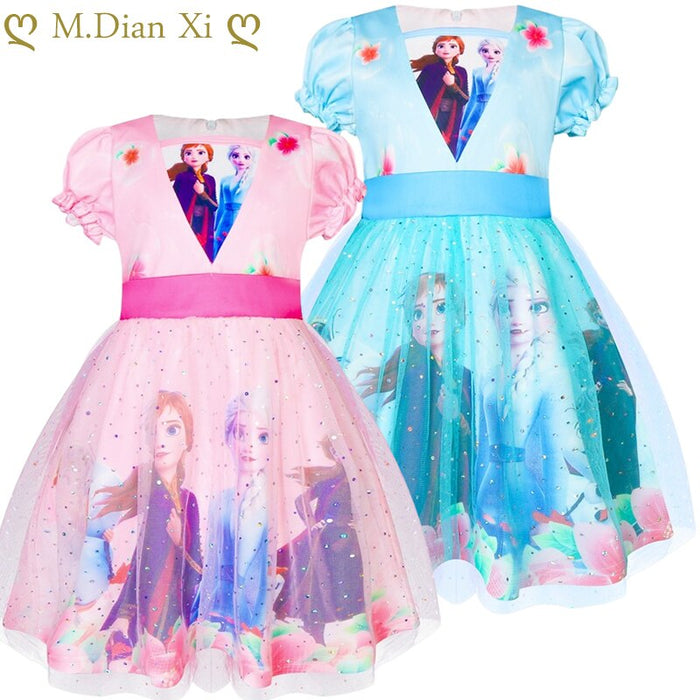Snow Queen Frozen 2 Christmas Gift Baby Girls Dress Cinderella Cosplay Costume Party