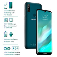 "DOOGEE Y8 6.1"" 19:9 Waterdrop Display Android 9.0 3400mAh MTK6739 Smartphone 3GB RAM 32GB ROM Fingerprint ID 4G LTE Mobile Phone"