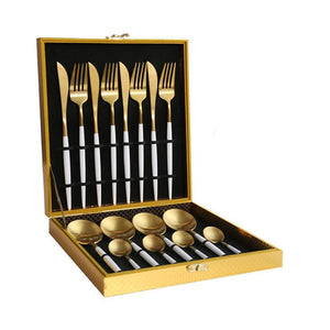 Black Gold Dinnerware Set 18/10 Stainless Steel Dinner Knife Fork White Gold Cutlery Set Pink