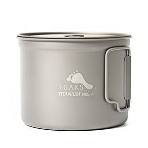 TOAKS POT-900-D115 Pure Titanium Cup Ultralight Outdoor Mug with Lid and Foldable Handle Camping Cookware 900ml 124g