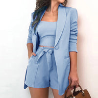 Autumn Three Piece Sets Women Sexy Slash Neck Office 3 Piece Set Top And Shorts Long Sleeve Elegant Casual Suits Blazer