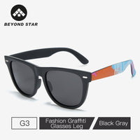 BEYONDSTAR Classic Square Polarized Sunglasses Men Trendy Graffiti Glasses Legs Sunglasses Driving Sun Glasses Shades G9304